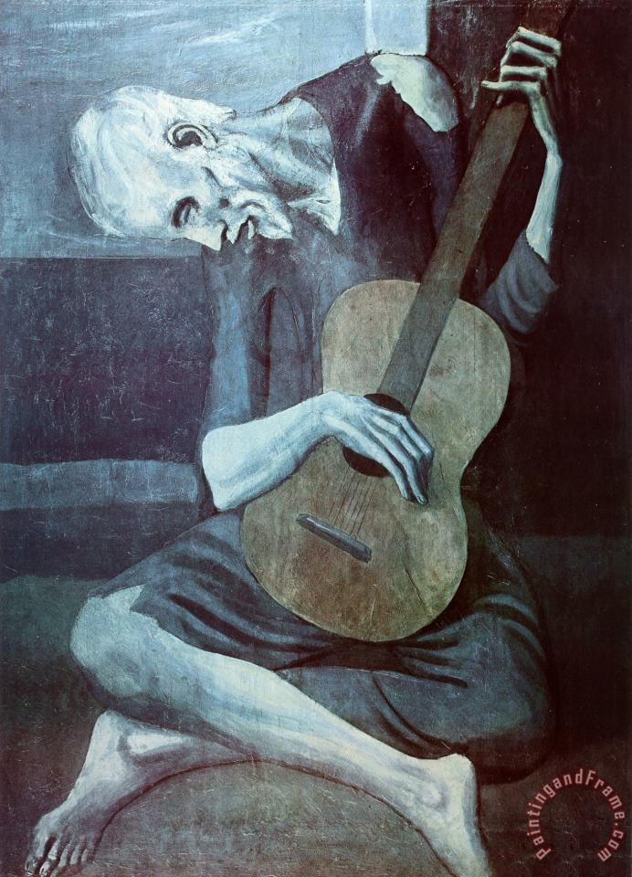 Old Guitarist Art Print Poster painting - Pablo Picasso Old Guitarist Art Print Poster Art Print