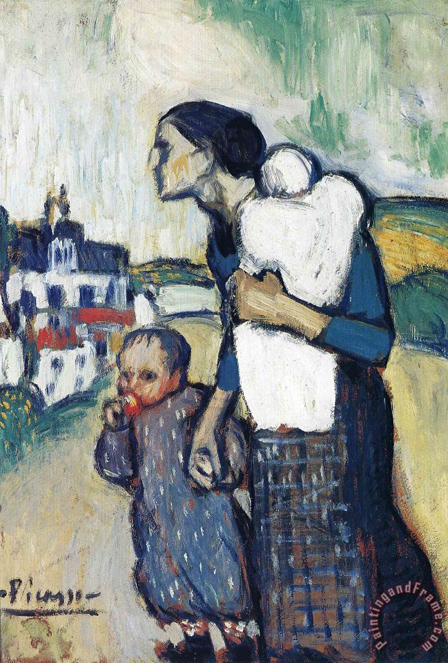 Pablo Picasso The Mother Leading Two Children 1901 Art Print