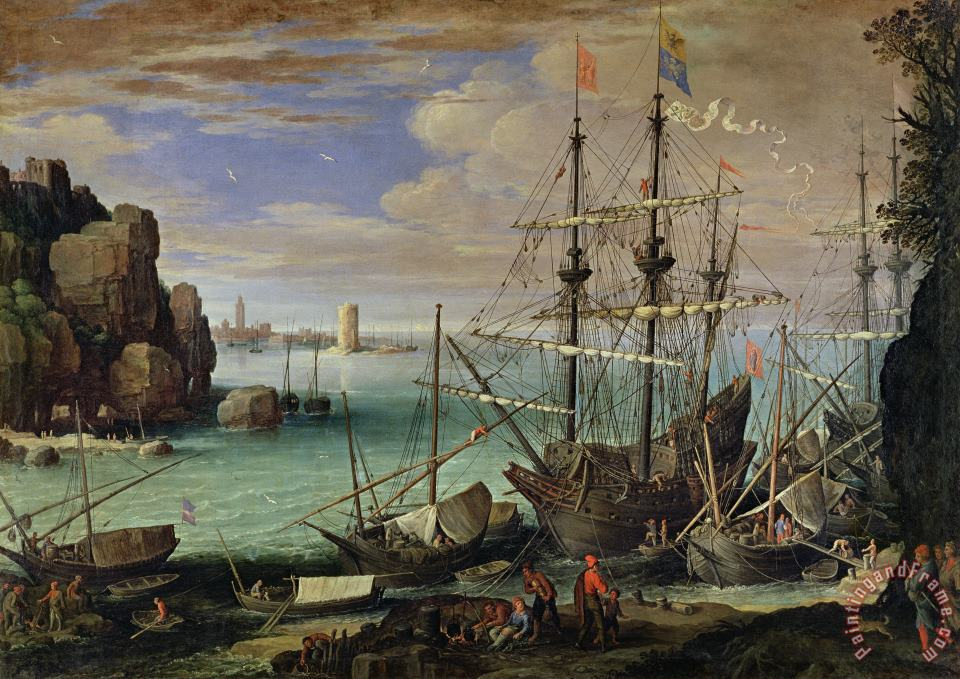 Paul Bril Scene of a Sea Port Art Painting