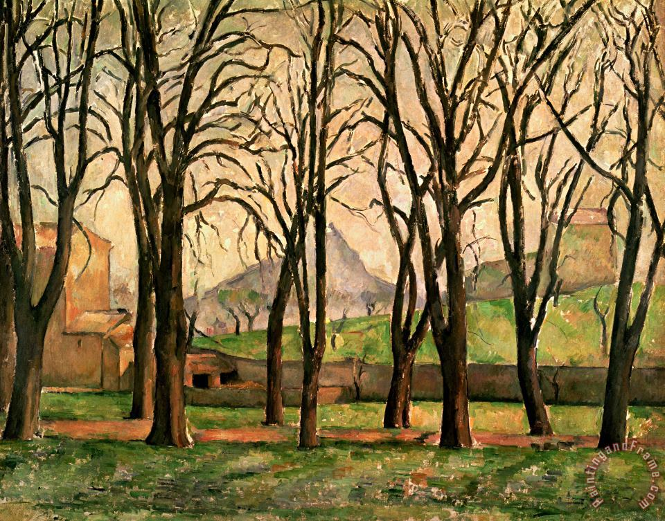 Chestnut trees at the Jas de Bouffan painting - Paul Cezanne Chestnut trees at the Jas de Bouffan Art Print