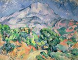 Dejeuner Sur L Herbe 1876 77 Oil on Canvas Prints - Montagne Sainte Victoire From The South West with Trees And a House Oil on Canvas by Paul Cezanne