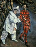 Dejeuner Sur L Herbe 1876 77 Oil on Canvas Prints - Pierrot And Harlequin Mardi Gras 1888 Oil on Canvas by Paul Cezanne