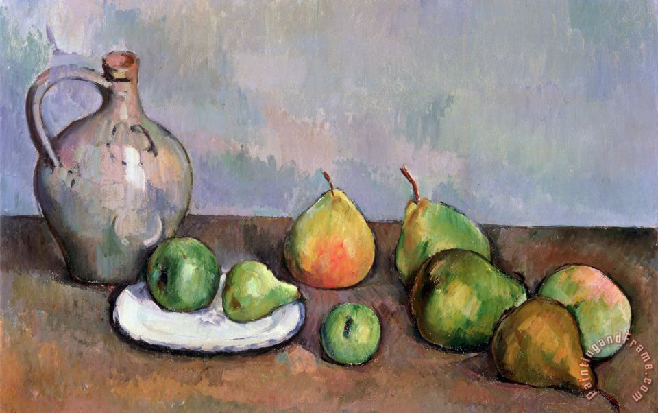 Still Life with Pitcher and Fruit painting - Paul Cezanne Still Life with Pitcher and Fruit Art Print