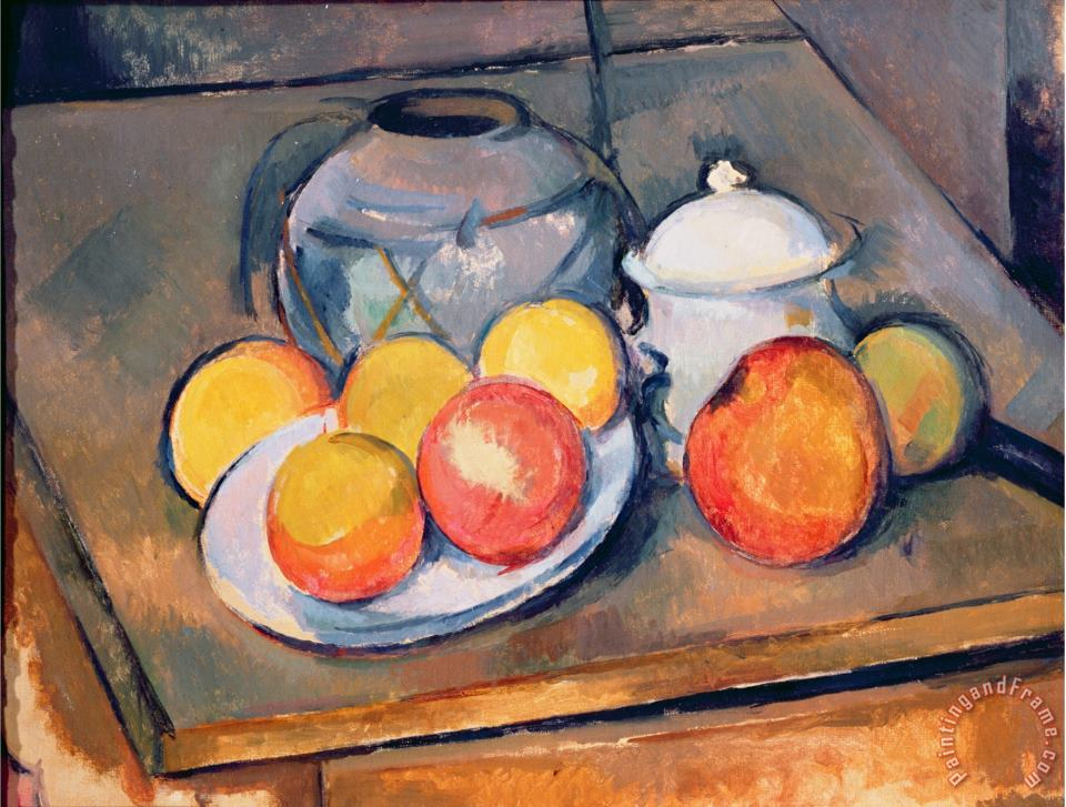 Paul Cezanne Straw Covered Vase Sugar Bowl And Apples 1890 93 Art Painting