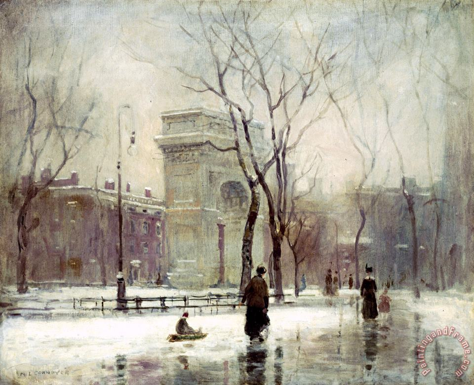Winter in Washington Square painting - Paul Cornoyer Winter in Washington Square Art Print