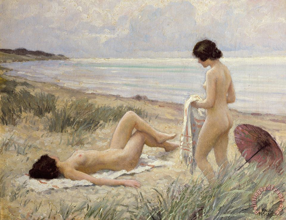 Summer on the Beach painting - Paul Fischer Summer on the Beach Art Print