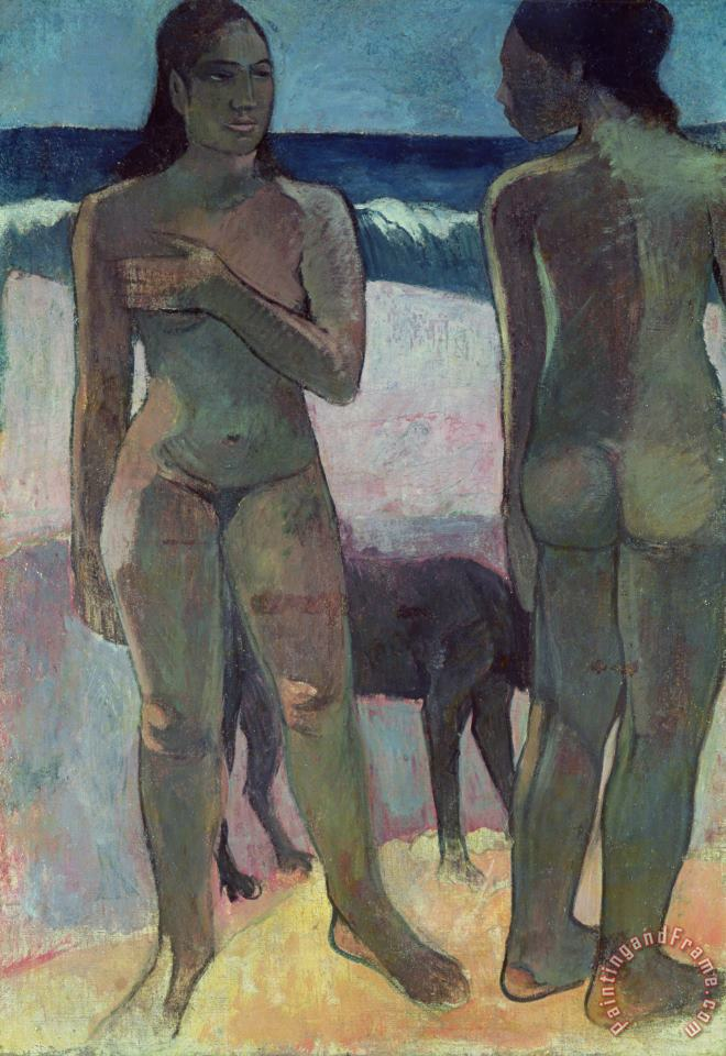 Paul Gauguin Two Tahitian Women on the Beach Art Painting