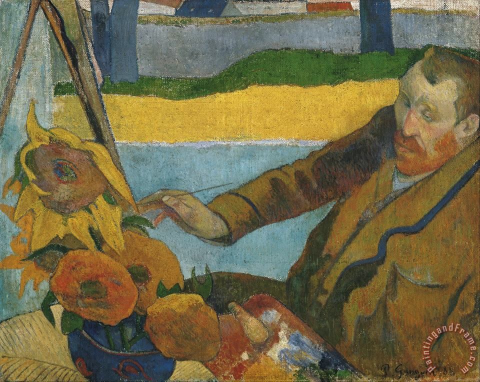 Vincent Van Gogh Painting Sunflowers painting - Paul Gauguin Vincent Van Gogh Painting Sunflowers Art Print