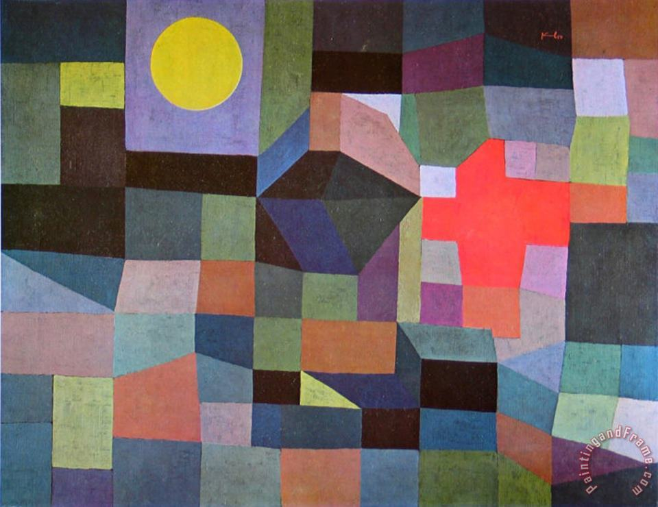 Fire at Full Moon 1933 painting - Paul Klee Fire at Full Moon 1933 Art Print