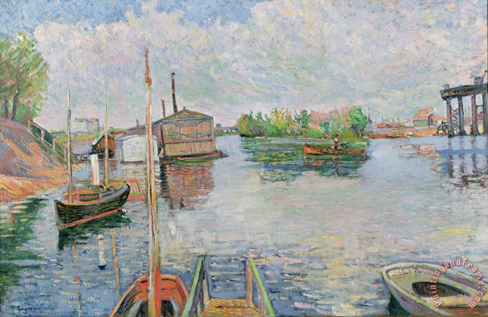 The Bateau Lavoir at Asnieres painting - Paul Signac The Bateau Lavoir at Asnieres Art Print