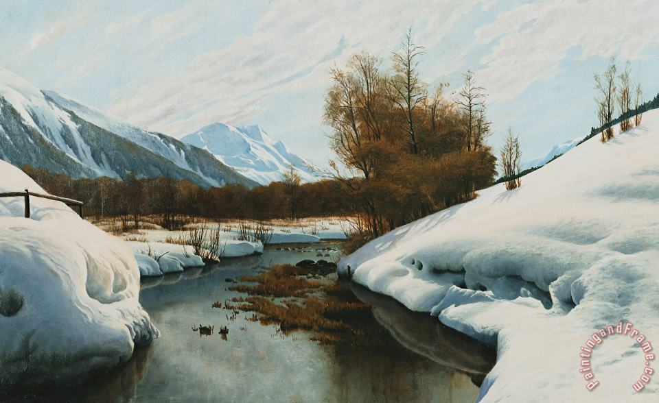Near La Punt St Morritz In The Engadine Valley painting - Peder Monsted Near La Punt St Morritz In The Engadine Valley Art Print