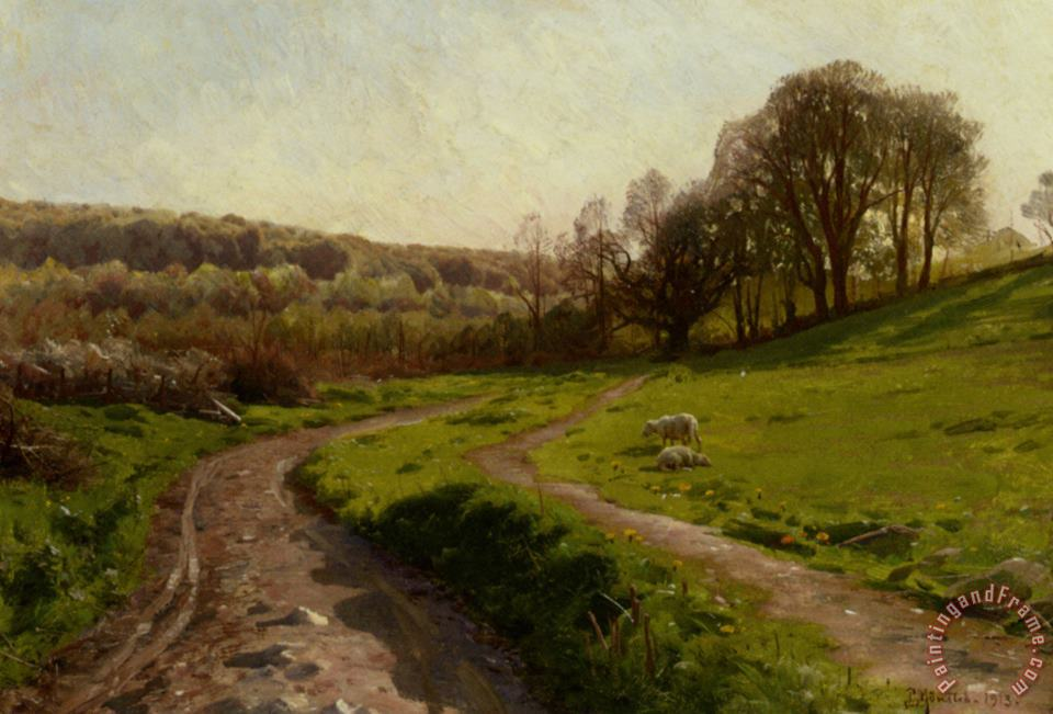 A Country Field painting - Peder Mork Monsted A Country Field Art Print