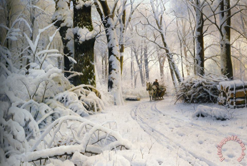 Peder Mork Monsted Forest in Winter Art Print