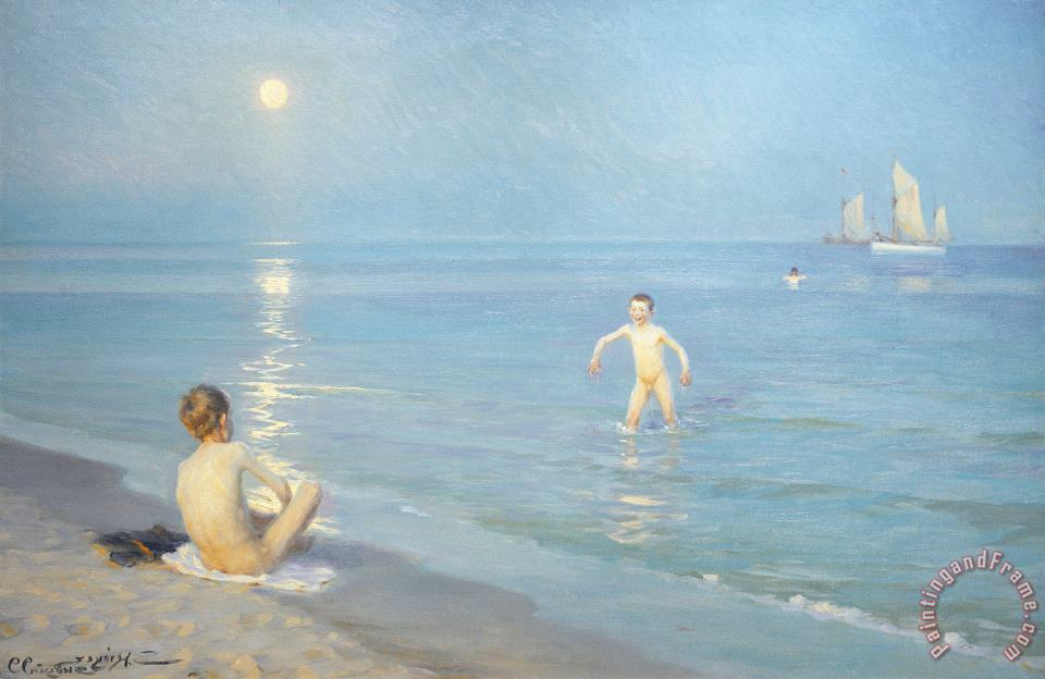 Boys On The Seashore In A Summer Night At Skagen 1899 painting - Peder Severin Kroyer Boys On The Seashore In A Summer Night At Skagen 1899 Art Print