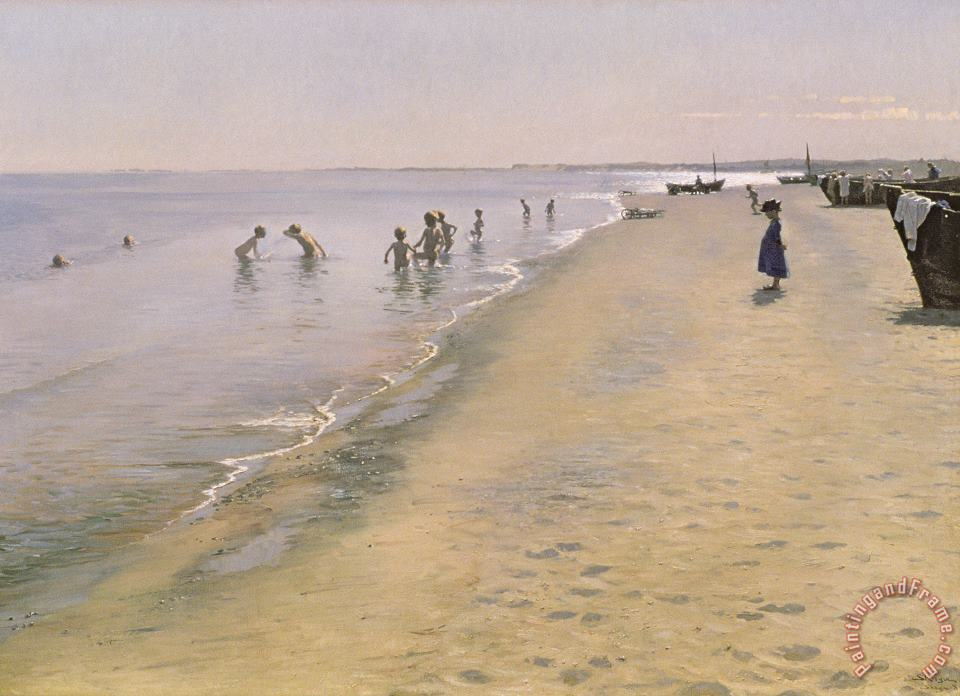 Summer Day at the South Beach of Skagen painting - Peder Severin Kroyer Summer Day at the South Beach of Skagen Art Print