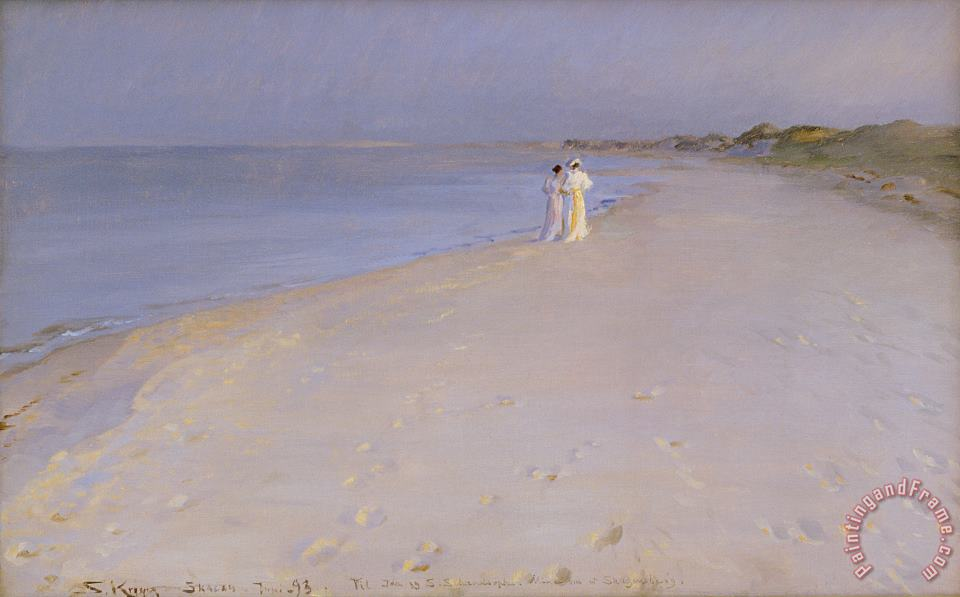 Summer evening at the South Beach painting - Peder Severin Kroyer Summer evening at the South Beach Art Print