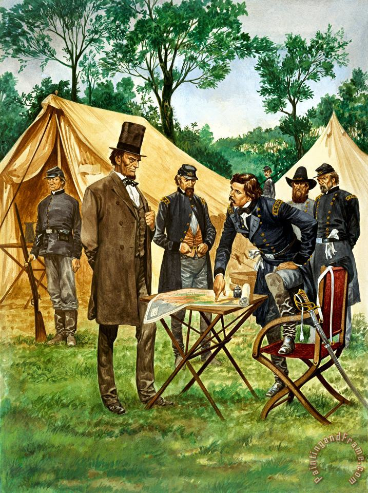 Abraham Lincoln plans his campaign during the American Civil War painting - Peter Jackson Abraham Lincoln plans his campaign during the American Civil War Art Print