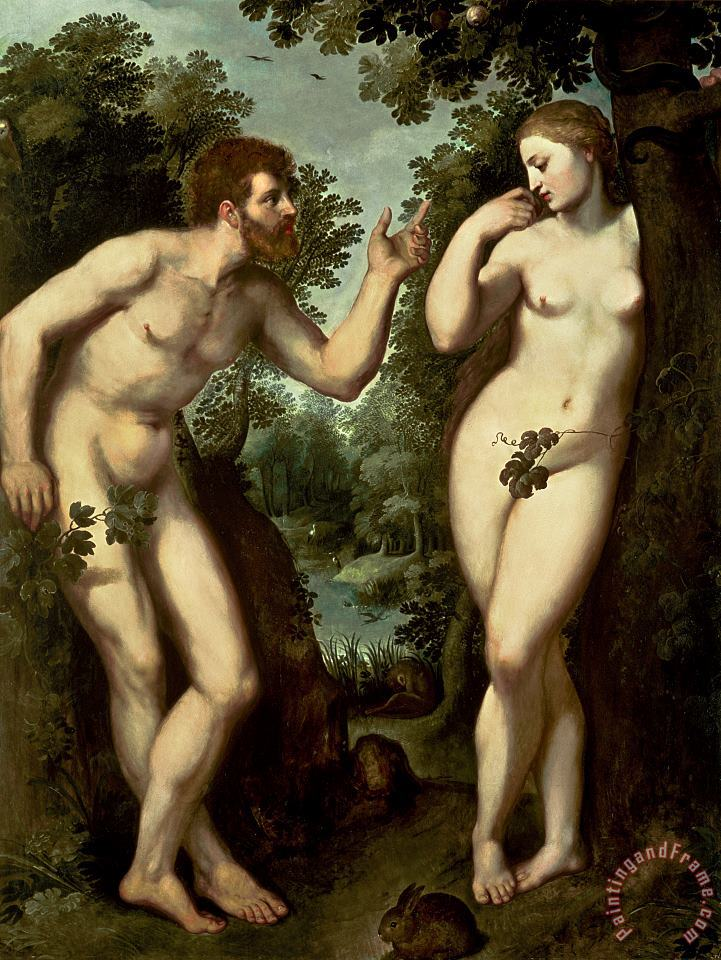 Adam and Eve painting - Peter Paul Rubens Adam and Eve Art Print