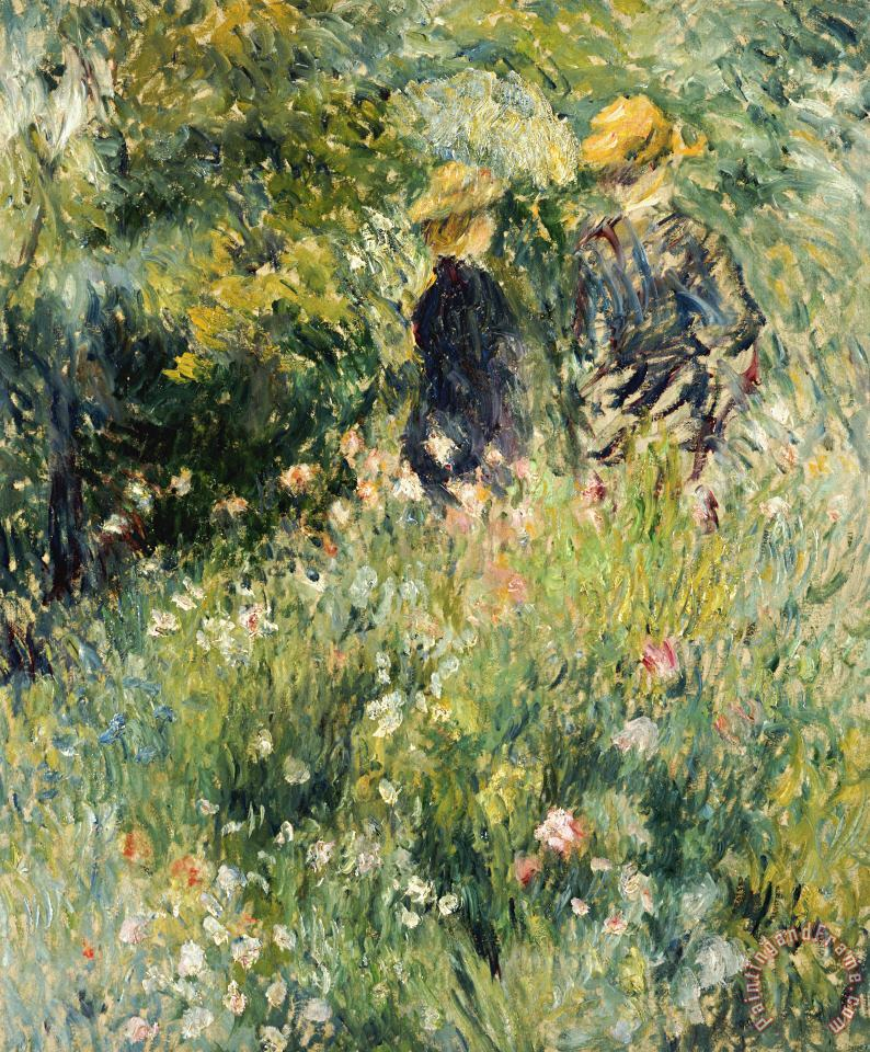 Conversation in a Rose Garden painting - Pierre Auguste Renoir Conversation in a Rose Garden Art Print