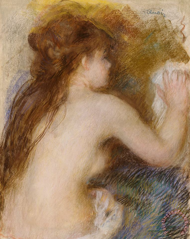Rear view of a nude woman painting - Pierre Auguste Renoir Rear view of a nude woman Art Print