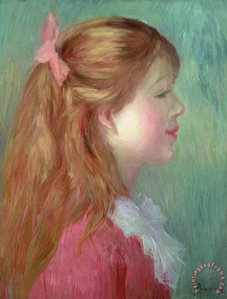 Young girl with Long hair in profile painting - Pierre Auguste Renoir Young girl with Long hair in profile Art Print