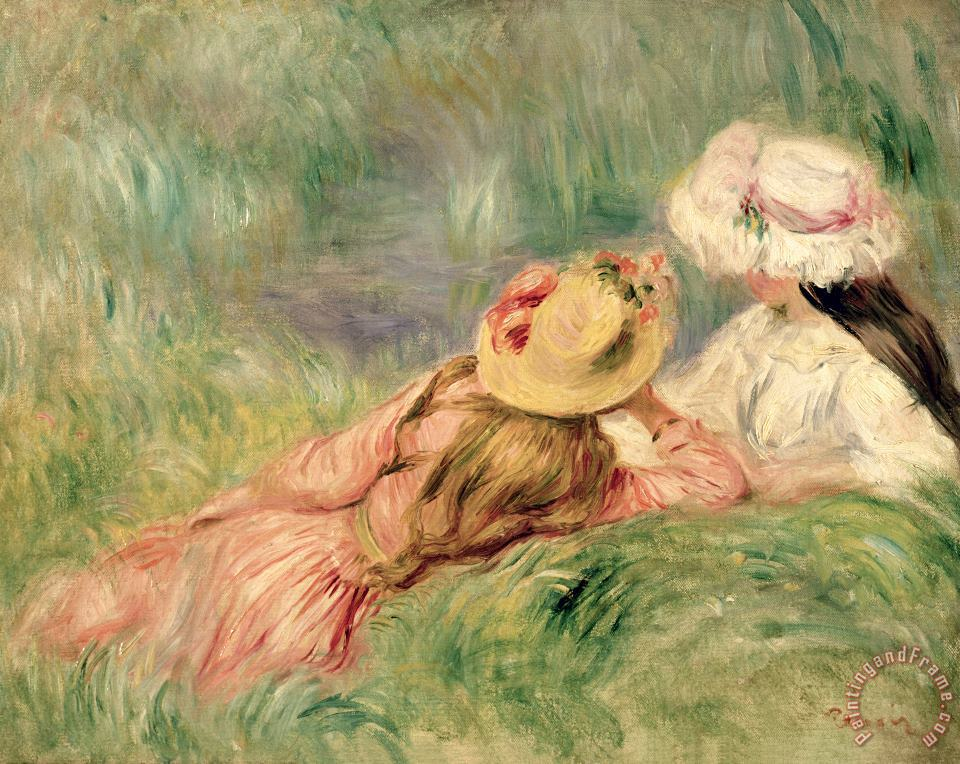 Young Girls on the River Bank painting - Pierre Auguste Renoir Young Girls on the River Bank Art Print
