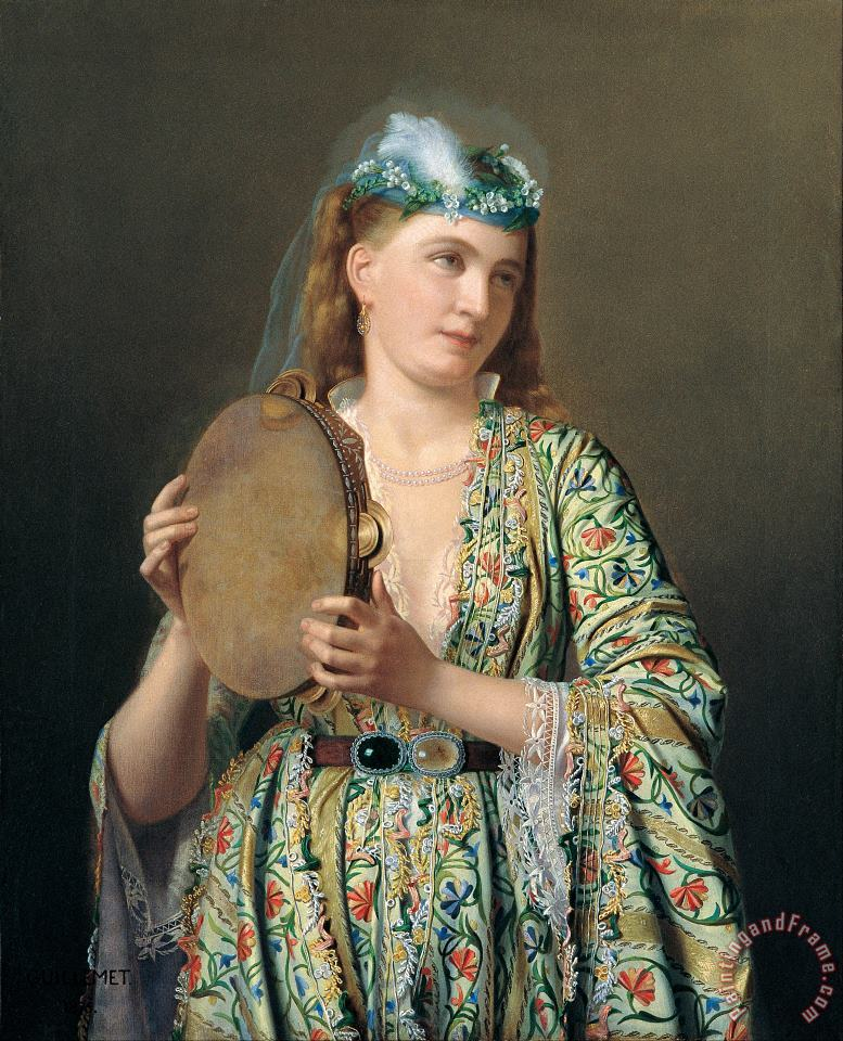 Portrait of a Lady of The Court Playing The Tambourine painting - Pierre Desire Guillemet Portrait of a Lady of The Court Playing The Tambourine Art Print