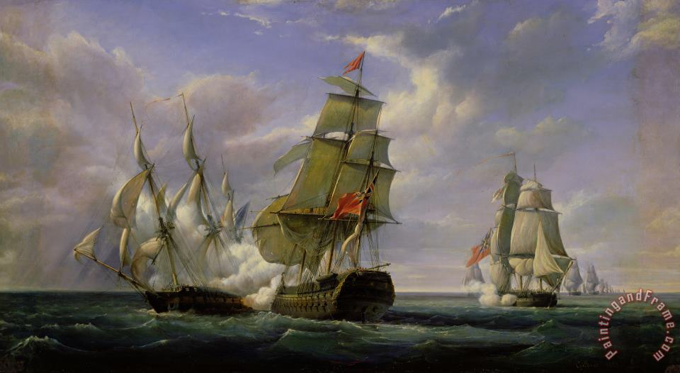 Combat between the French Frigate La Canonniere and the English Vessel The Tremendous painting - Pierre Julien Gilbert Combat between the French Frigate La Canonniere and the English Vessel The Tremendous Art Print