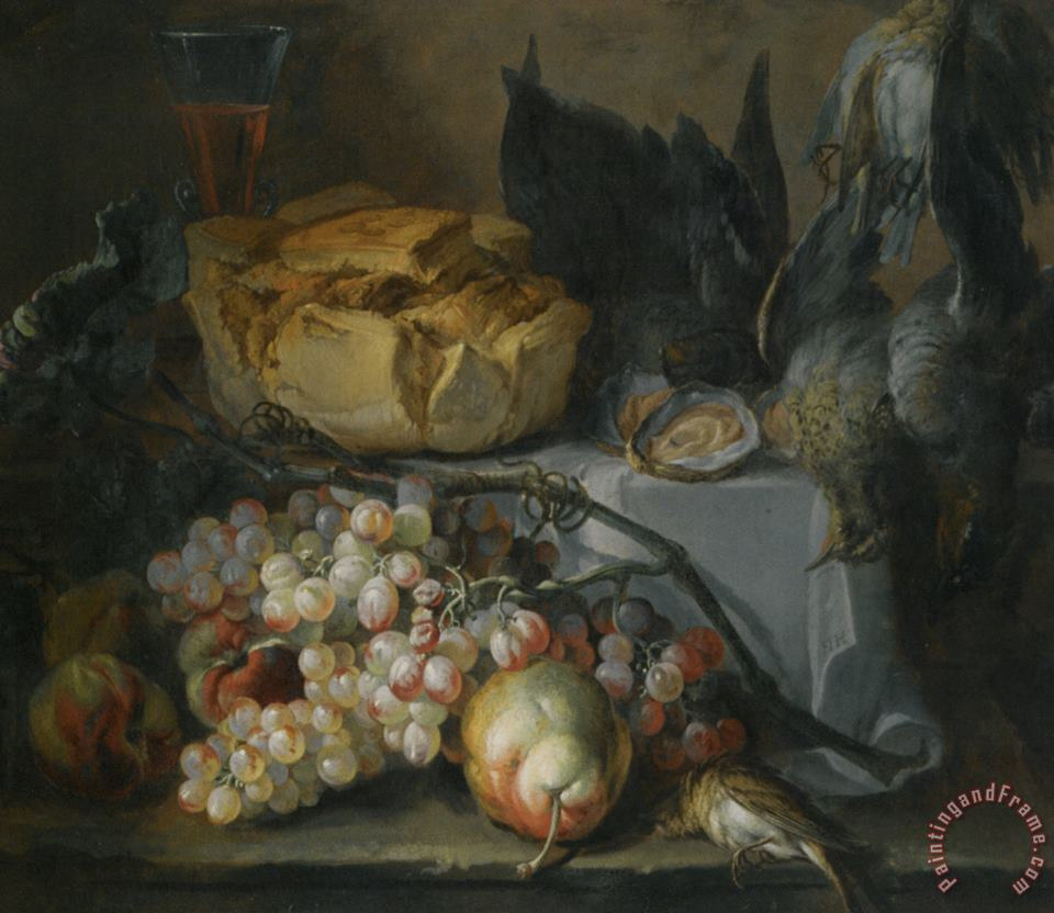 Still Life with a Load of Bread And Dead Game painting - Pierre Nicolas Huilliot Still Life with a Load of Bread And Dead Game Art Print