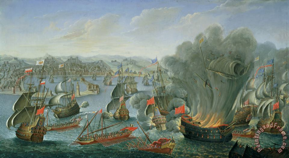 Naval Battle with the Spanish Fleet painting - Pierre Puget Naval Battle with the Spanish Fleet Art Print