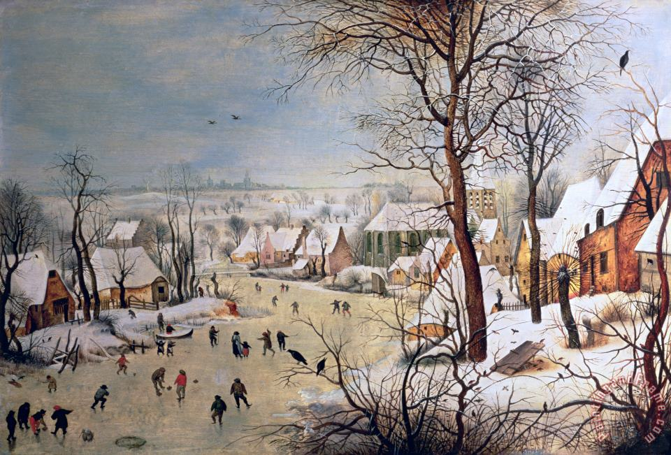 Winter Landscape with Birdtrap painting - Pieter the Elder Bruegel Winter Landscape with Birdtrap Art Print