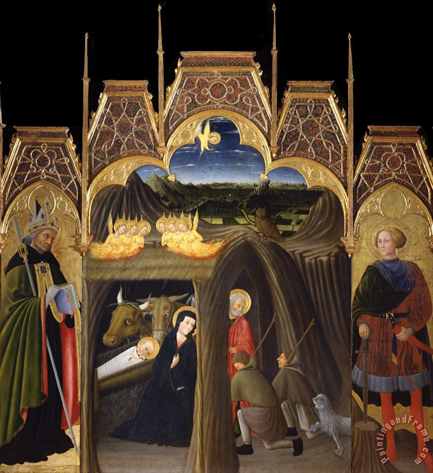Adoration of The Shepherds Between Saints Augustin And Galgano painting - Pietro di Giovanni d'Ambrogio Adoration of The Shepherds Between Saints Augustin And Galgano Art Print