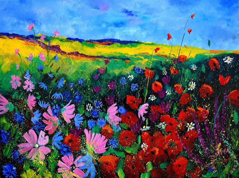 Field flowers painting - Pol Ledent Field flowers Art Print