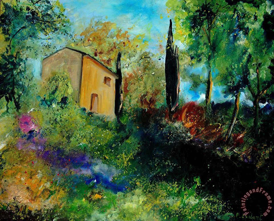 Old barn in provence painting - Pol Ledent Old barn in provence Art Print