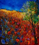 Summer landscape with poppies by Pol Ledent