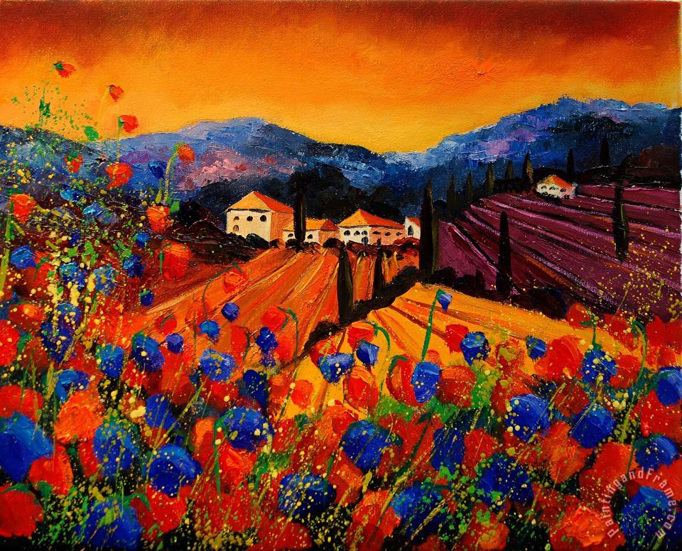 Tuscany Poppies painting - Pol Ledent Tuscany Poppies Art Print
