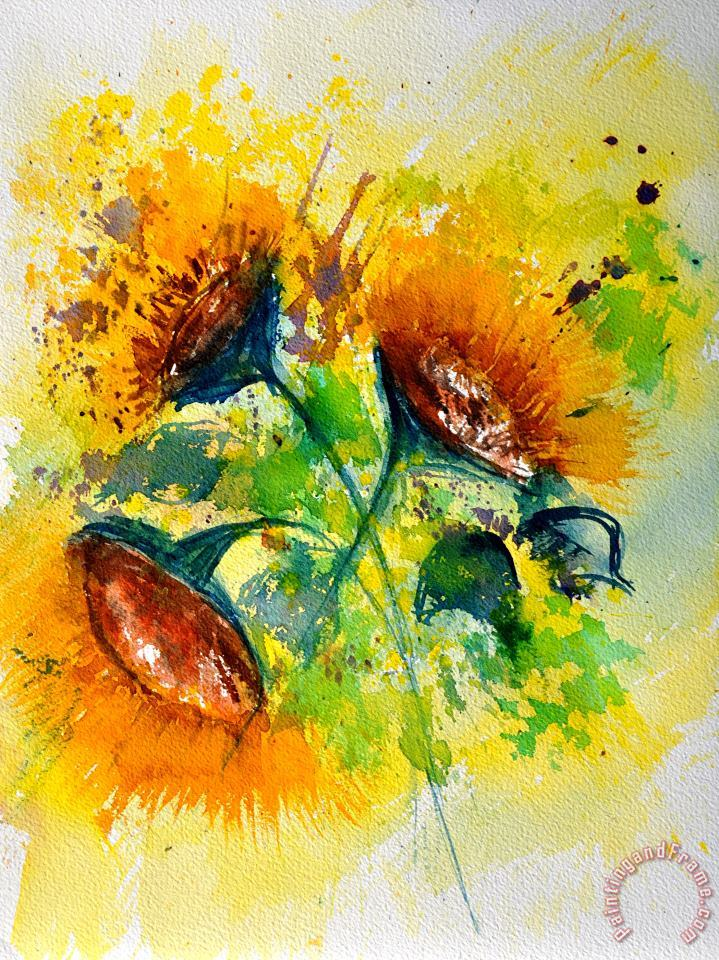 Pol Ledent Watercolor Sunflowers 2101 Art Painting