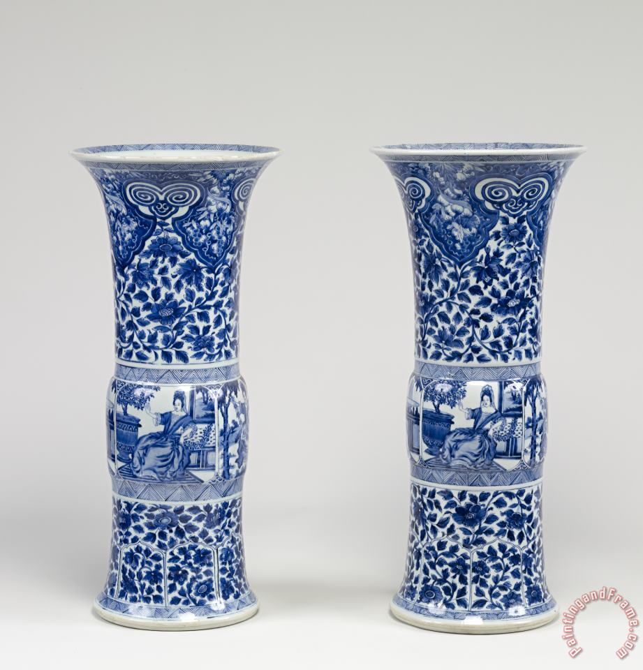 Chinese Pair of Vases with European Women painting - Porcelain vase Chinese Pair of Vases with European Women Art Print