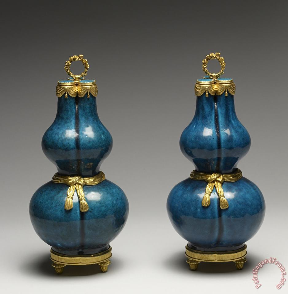 Pair of Gourd-shaped Vases painting - Porcelain vase Pair of Gourd-shaped Vases Art Print