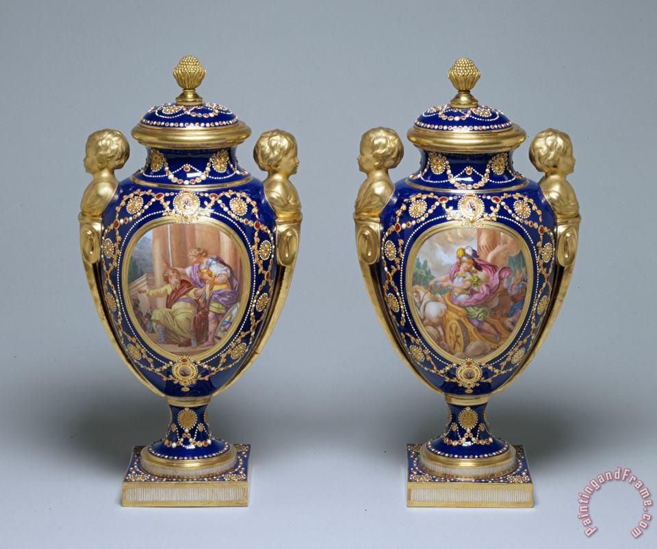 Pair of Vases in white house painting - Porcelain vase Pair of Vases in white house Art Print