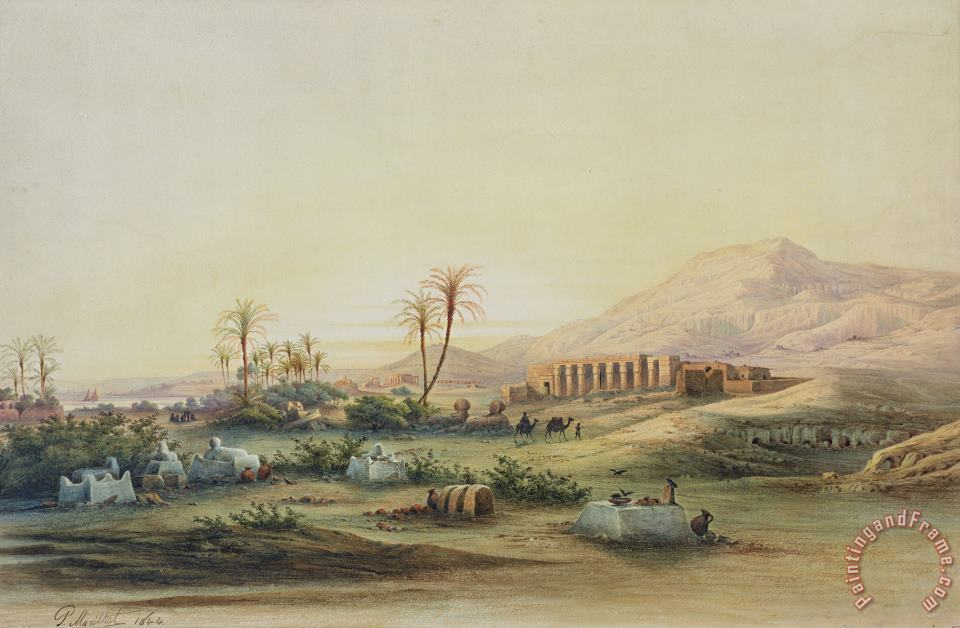 Valley of the Nile with the Ruins of the Temple of Seti I painting - Prosper Georges Antoine Marilhat Valley of the Nile with the Ruins of the Temple of Seti I Art Print
