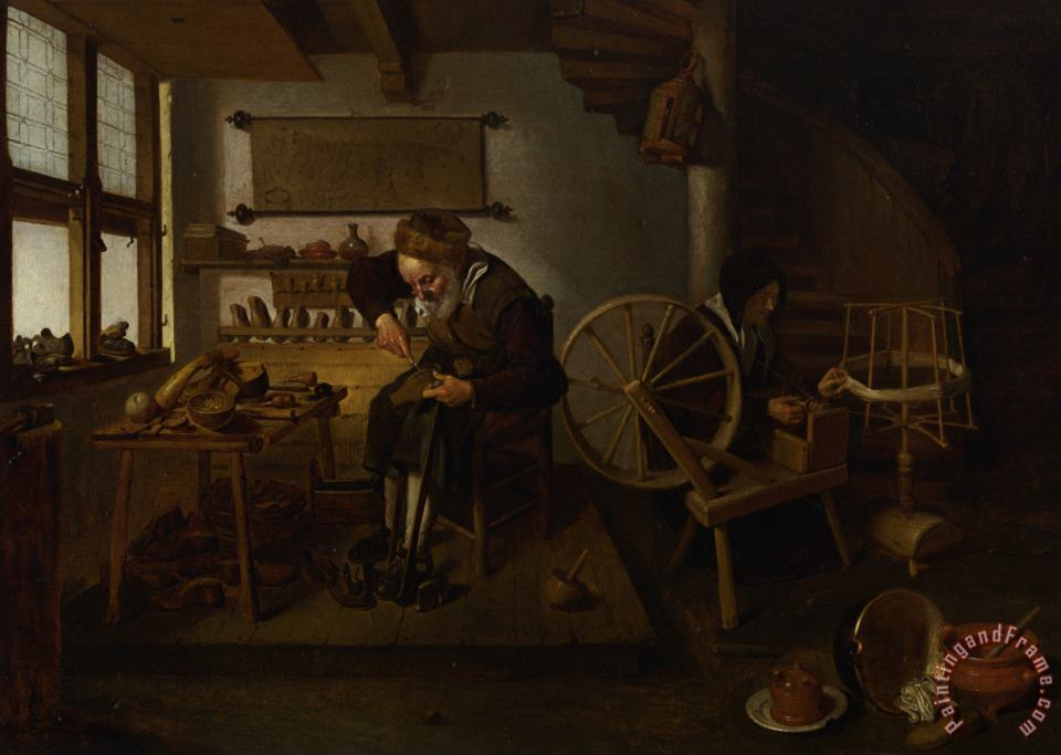 Quiringh Gerritsz. Van Brekelenkam A Cobbler at Work with His Wife Spinning Wool Art Painting
