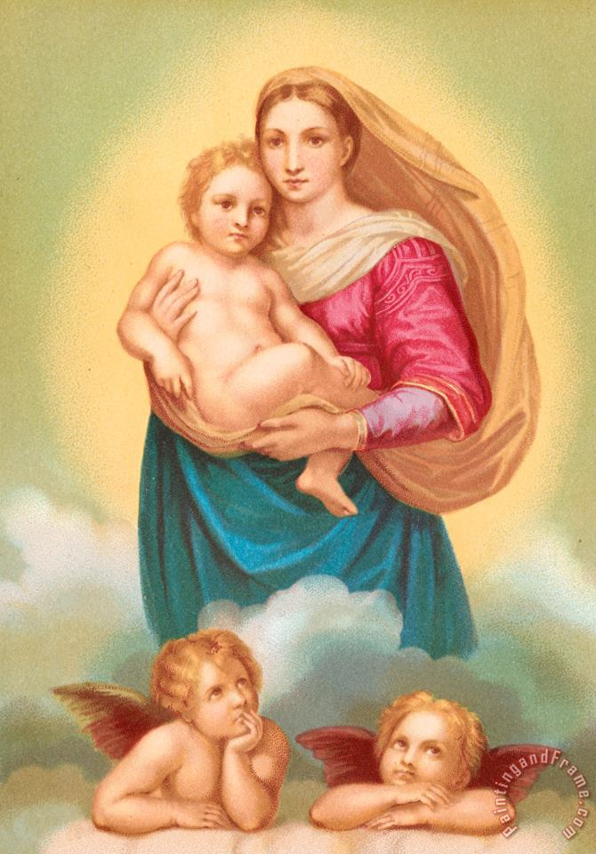 The Sistine Madonna painting - Raphael The Sistine Madonna Art Print