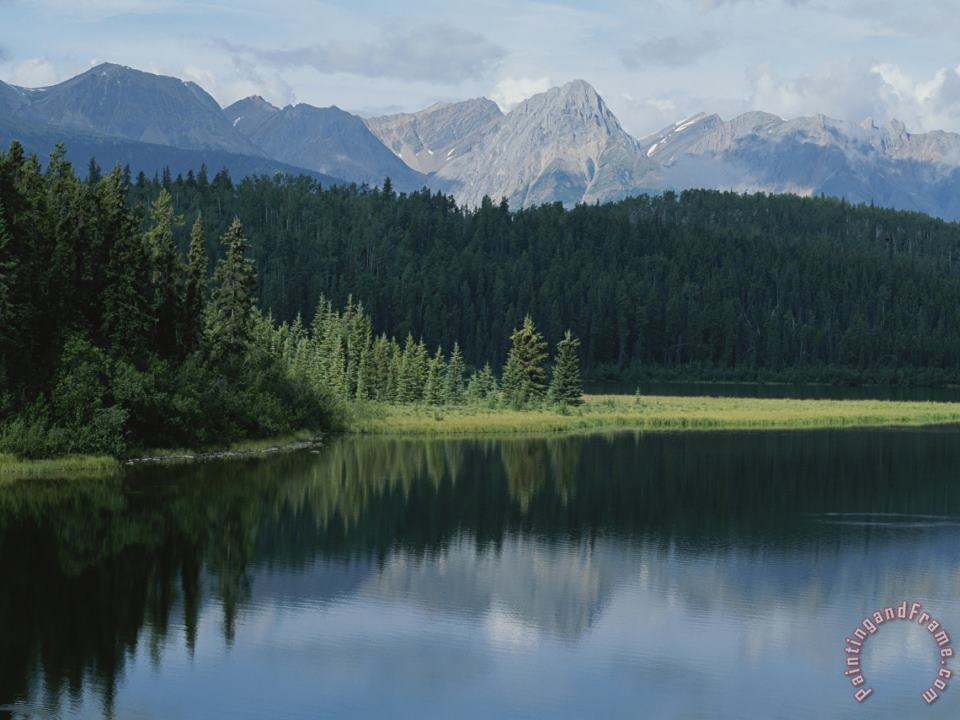 A Beautiful Mountain Scene Reflected in a Peaceful Mountain Lake painting - Raymond Gehman A Beautiful Mountain Scene Reflected in a Peaceful Mountain Lake Art Print
