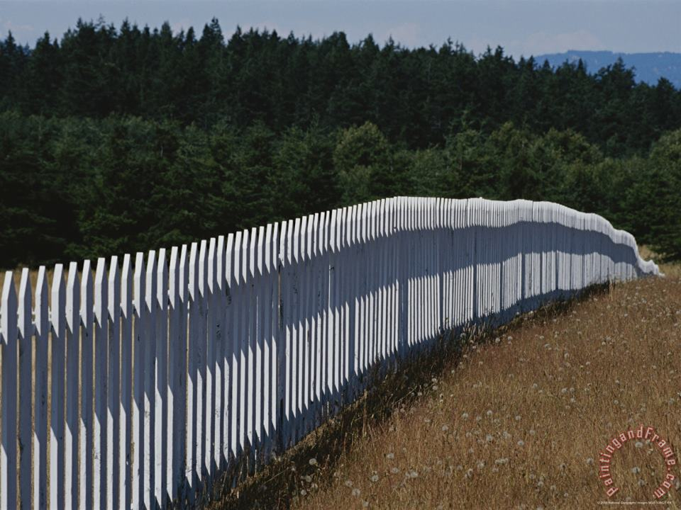 Raymond Gehman A White Picket Fence Recedes Down a Field Art Print