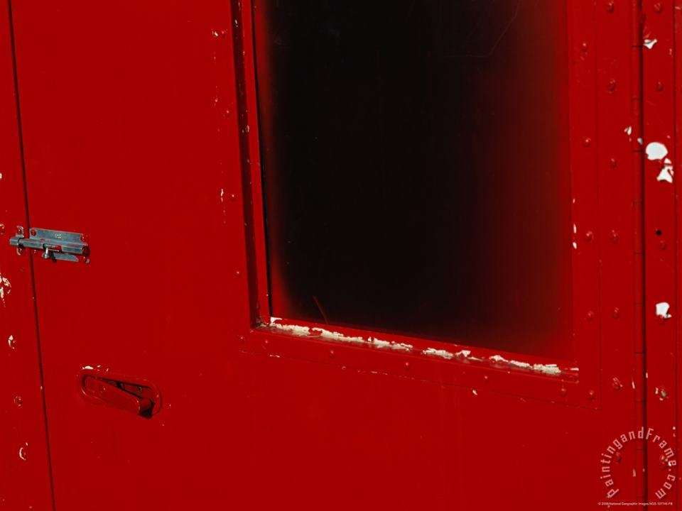 Close View of a Bright Red Door painting - Raymond Gehman Close View of a Bright Red Door Art Print