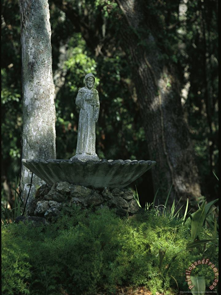 Raymond Gehman Fountain Bird Bath on The Saint George Episcopal Church Grounds Art Painting