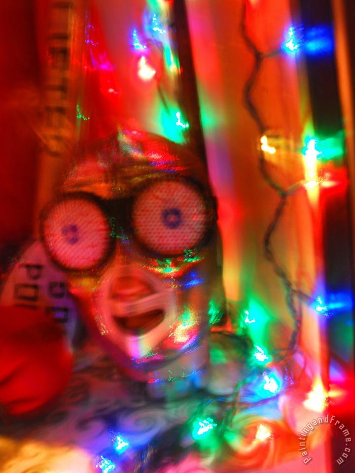 Mask And Christmas Lights in a Costume Shop Window in San Francisco painting - Raymond Gehman Mask And Christmas Lights in a Costume Shop Window in San Francisco Art Print