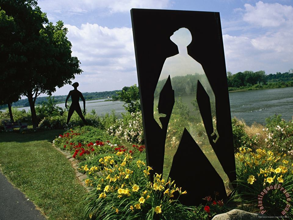 Raymond Gehman Modern Sculpture in a Garden on The Banks of The Susquehanna River Art Painting