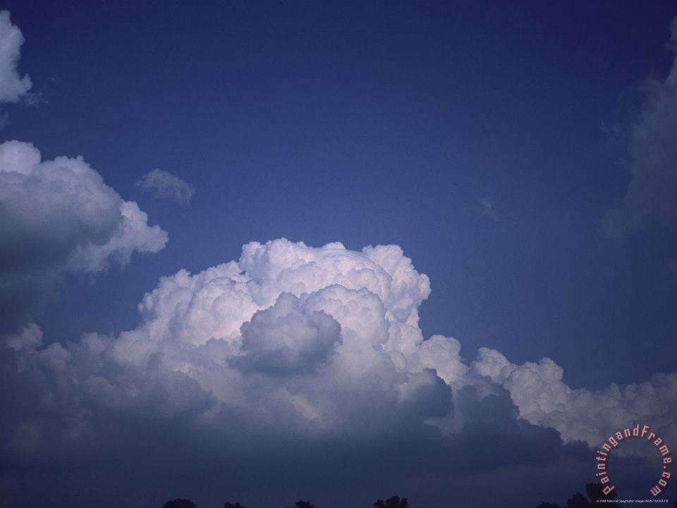 Puffy Clouds in The Blue Sky painting - Raymond Gehman Puffy Clouds in The Blue Sky Art Print